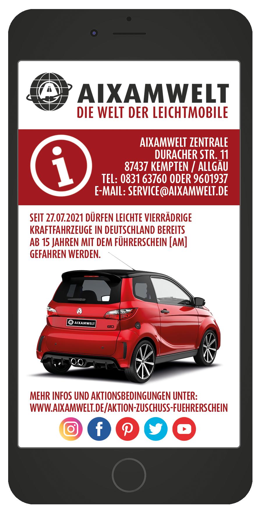 AIXAMWELT Aktion Zuschuss zu deinem Führerschein AM Smartphone Flyer hinten