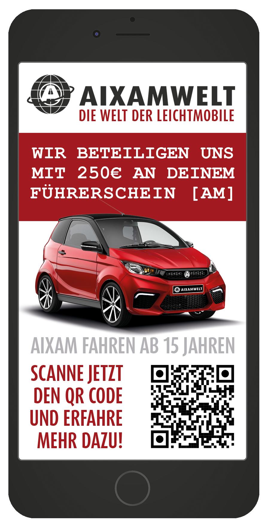 AIXAMWELT Aktion Zuschuss zu deinem Führerschein AM Smartphone Flyer vorne